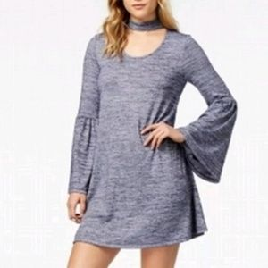 NWT Nordstrom Blue Choker Bell Sleeve Shift Dress